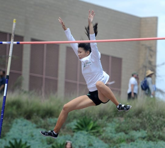 Seanne Chan of Thousand Oaks is up and over in the Division 2 pole vault competition at the CIF-SS Track and Field Championships at El Camino College in Torrance on Saturday. Chan finished fifth.