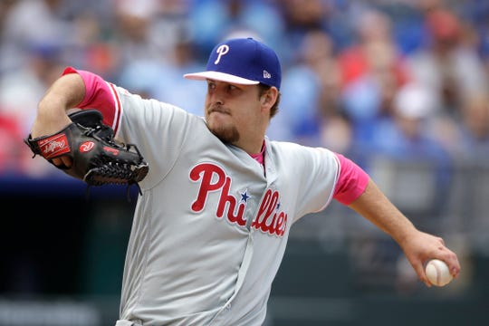 Philadelphia Phillies starting pitcher Cole Irvin throws during the first inning of a baseball game against the Kansas City Royals, Sunday, May 12, 2019, in Kansas City, Mo.
