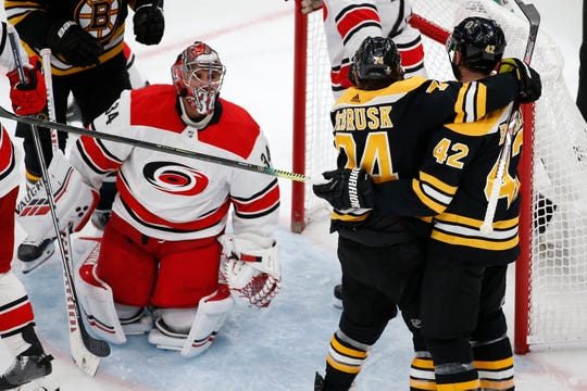 Bruins right wing David Backes (42) celebrates with Boston Bruins left wing Jake DeBrusk (74) after scoring a goal on Hurricanes goaltender Petr Mrazek (34).