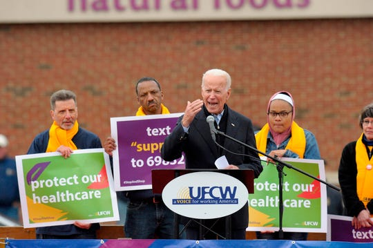 Former Vice President Joe Biden at a rally organized by UFCW Union members in Dorchester, Massachusetts, on April 18, 2019.