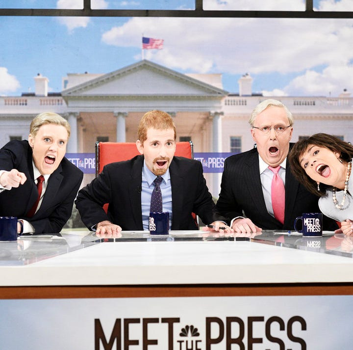 "(L-R) Kate McKinnon as Lindsey Graham, Kyle Mooney as Chuck Todd, Beck Bennett as Mitch McConnell, and Cecily Strong as Susan Collins during the ""Meet The Press"" cold open."