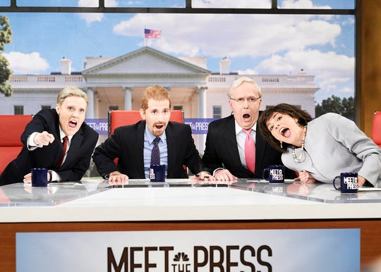 """Kate McKinnon (from left) as Lindsey Graham, Kyle Mooney as Chuck Todd, Beck Bennett as Mitch McConnell, and Cecily Strong as Susan Collins during the """"Meet the Press"""" opening sketch on """"Saturday Night Live."""""""