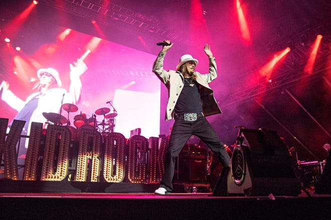 """Kid Rock, shown here performing in April at KAABOO Texas at AT&T Stadium in Arlington, Texas, is headlining Thursday's Third Annual """"Bash at the Bay Country Music Festival"""" at the Put-in-Bay Airport."""