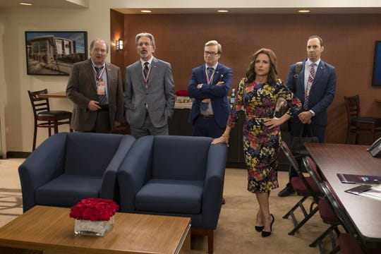 The 'Veep' braintrust, such as it is - Ben (Kevin Dunn), left, Kent (Gary Cole), Keith (Andy Daly), Selina (Julia Louis-Dreyfus) and Gary (Tony Hale) - gather for one of the last times in the series finale.