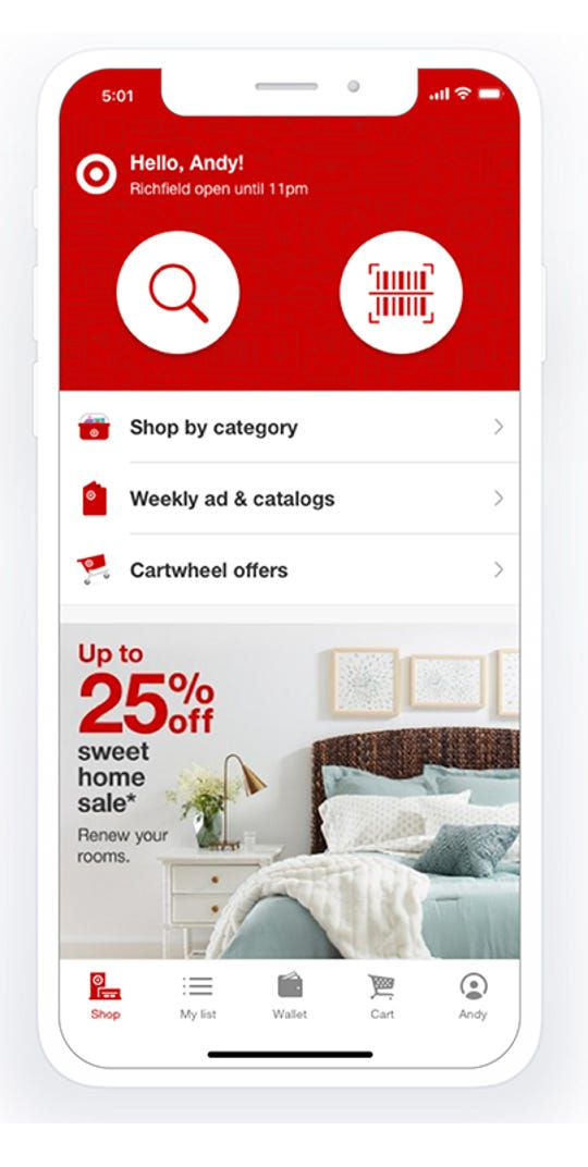 From the home screen on the Target app for Apple devices, click the magnify glass to find items and offers or select the barcode to bring up the scanner.