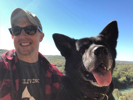 Gregg Favre of St. Louis, Mo., and his dog Bella.