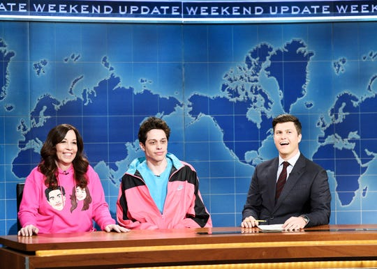 Amy Davidson, her son Pete Davidson, and anchor Colin Jost during