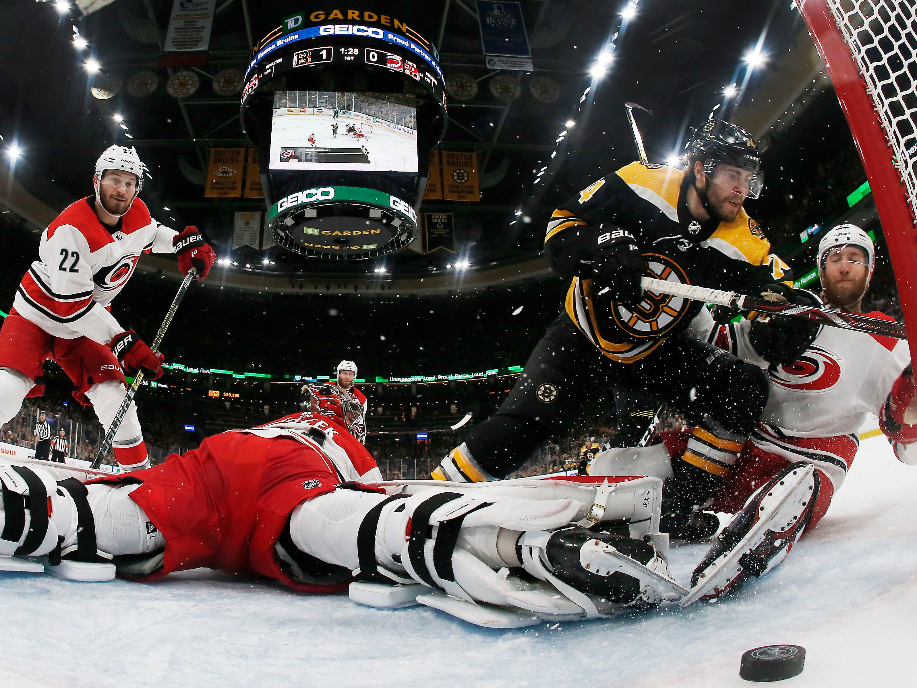 Conference finals: Boston Bruins forward Jake DeBrusk scores against the Carolina Hurricanes during the first period in Game 2.