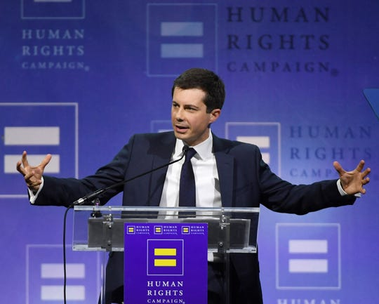 South Bend, Indiana Mayor Pete Buttigieg delivers a keynote address at the Human Rights Campaign's (HRC) 14th annual Las Vegas Gala at Caesars Palace on May 11, 2019 in Las Vegas, Nevada. Buttigieg is the first openly gay candidate to run for the Democratic presidential nomination. The HRC is the largest LGBTQ advocacy group in the United States.