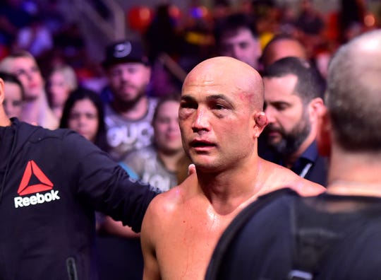 BJ Penn reacts after his loss to Clay Guida.