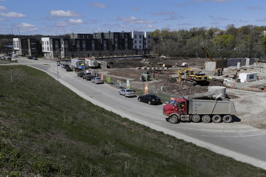 Construction is underway on RiverHeath's new Willow building in Appleton. The photo faces southwest, towards the College Avenue Bridge.