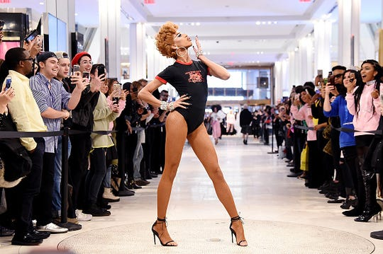 Naomi Smalls walks runway for the Nicopanda Ball Macy's Collection Launch at Macy's Herald Square on April 11, 2018 in New York City.