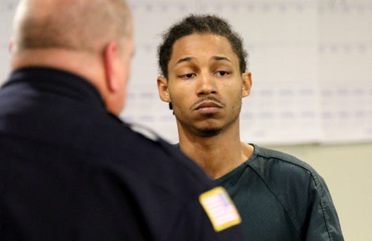 Demar S. Reevey, 23, of Red Bank, is charged in the stabbing death of Red Bank firefighter Andrew Hill, 26. Reevey is shown during his first appearance before Judge David Bauman in Freehold Tuesday.  Thomas P. Costello/Staff photographer Demar S. Reevey, 23, of Red Bank, charged in connection with the stabbing death of Red Bank firefighter Andrew Hill, 26, is shown during his first appearance before Judge David Bauman in Freehold Tuesday, May 29, 2018.