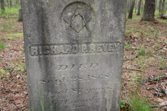 The gravestone of Richard P. Revey in the Pine Brook Cemetery in Tinton Falls. Revey was of Lenni Lenape decent.