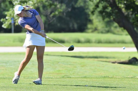 Wylie's Tatum McClellan hits a shot during the first round of the Class 5A state tournament at the White Wing Golf Club in Georgetown on Monday. McClellan shot a first-round 87.