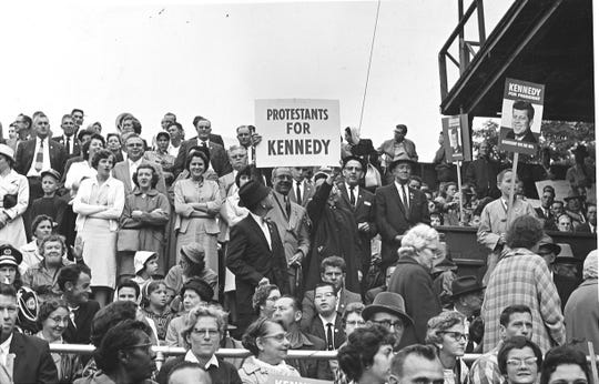 Some 4,000 supporters pack Asheville's McCormick Field in 1960 to hear Democratic presidential hopeful and Sen. John F. Kennedy. But a dense cloud cover forced Kennedy's plane to land in Charlotte from where he spoke to the crowd over a special telephone hook-up.