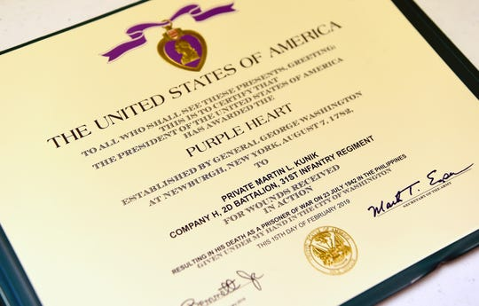 A Purple Heart medal issued posthumously to Martin Kunik, who was killed in the Philippines during World War II. Kunik's brother Frank Kunik Sr. lives in Berkshire and is working to have his late brother's remains returned to the family.