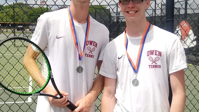 The doubles team of Wyatt Lehman, left, and Hunter Haynes finished as the runner-up in the regional tournament on May 4, earning a number 2 seed in the state championship tournament. The duo fell to Clinton in the second round of the state tournament after surviving a tough opening round match against a doubles team from Carrboro.
