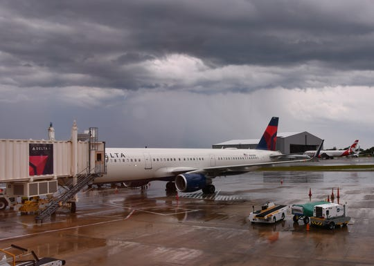 Delta Flight 925 from LaGuardia to Orlando International Airport was diverted to Orlando Melbourne International Airport Monday afternoon due to the storm going through the area.