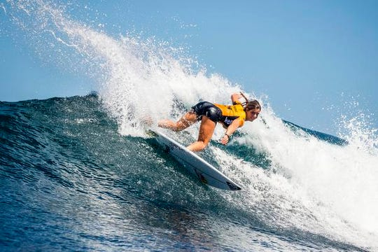 Caroline Marks of Melbourne Beach in action during round 1 of the Corona Bali Protected surfing event as part of the 2019 World Surf League in Keramas, Bali, Indonesia, 13 May 2019.