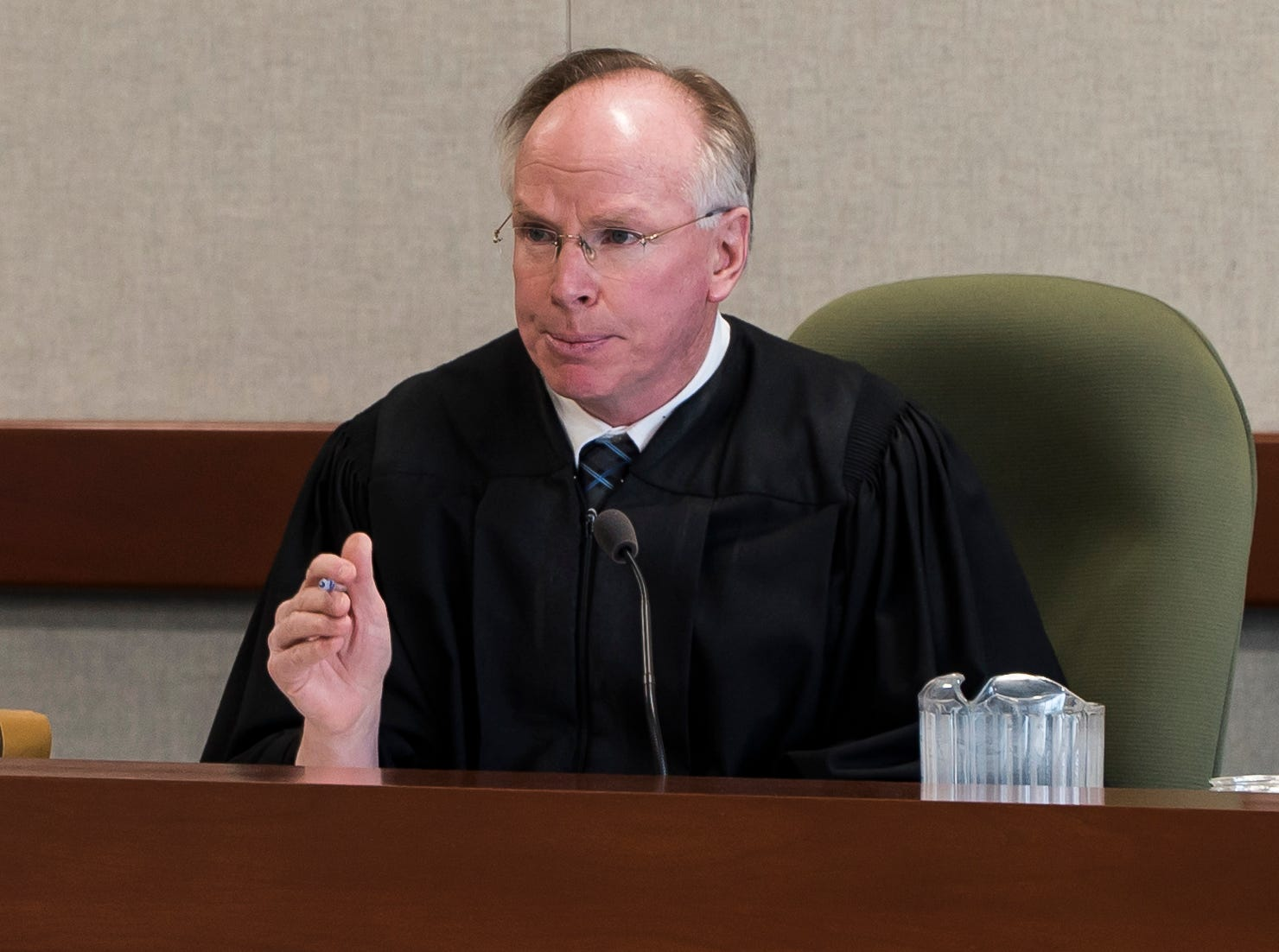 Judge Kevin Griffin denies a motion by Steven Bourgoin's defense on Monday morning, May 13, 2019, in Vermont Superior Court in Burlington asking for a mistrial, arguing that the state didn't properly share evidence that came out in testimony on Friday. The judge denied the motion.
