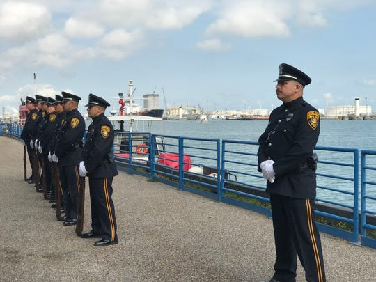 Officers wait to give the 21-gun-salute during the annual Coastal Bend Regional Peace Officers Memorial Day Ceremony on May 13, 2019.