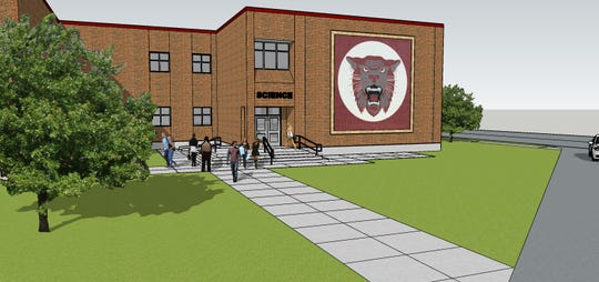 A rendering of the STEM addition to the Calallen High School.