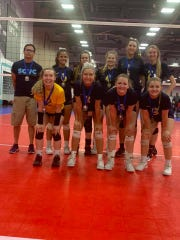 The Southern Ohio Volleyball Club 16R team won the Ohio Valley Region Club Volleyball GOLD Championship at the Greater Columbus Convention Center on Sunday. (Pictured front row: L-R: Katie Conner (Chillicothe), Hannah Hale (Zane Trace), Alli Bennett (Zane Trace), Ari DaRif (Adena). Back row L-R: Paul Tanedo, Laynee Hill (Zane Trace), Abbi Putnam (Adena), Olivis Riley (Adena), Ally Coriell (Minford), Kylee Barney (Wheelersburg))