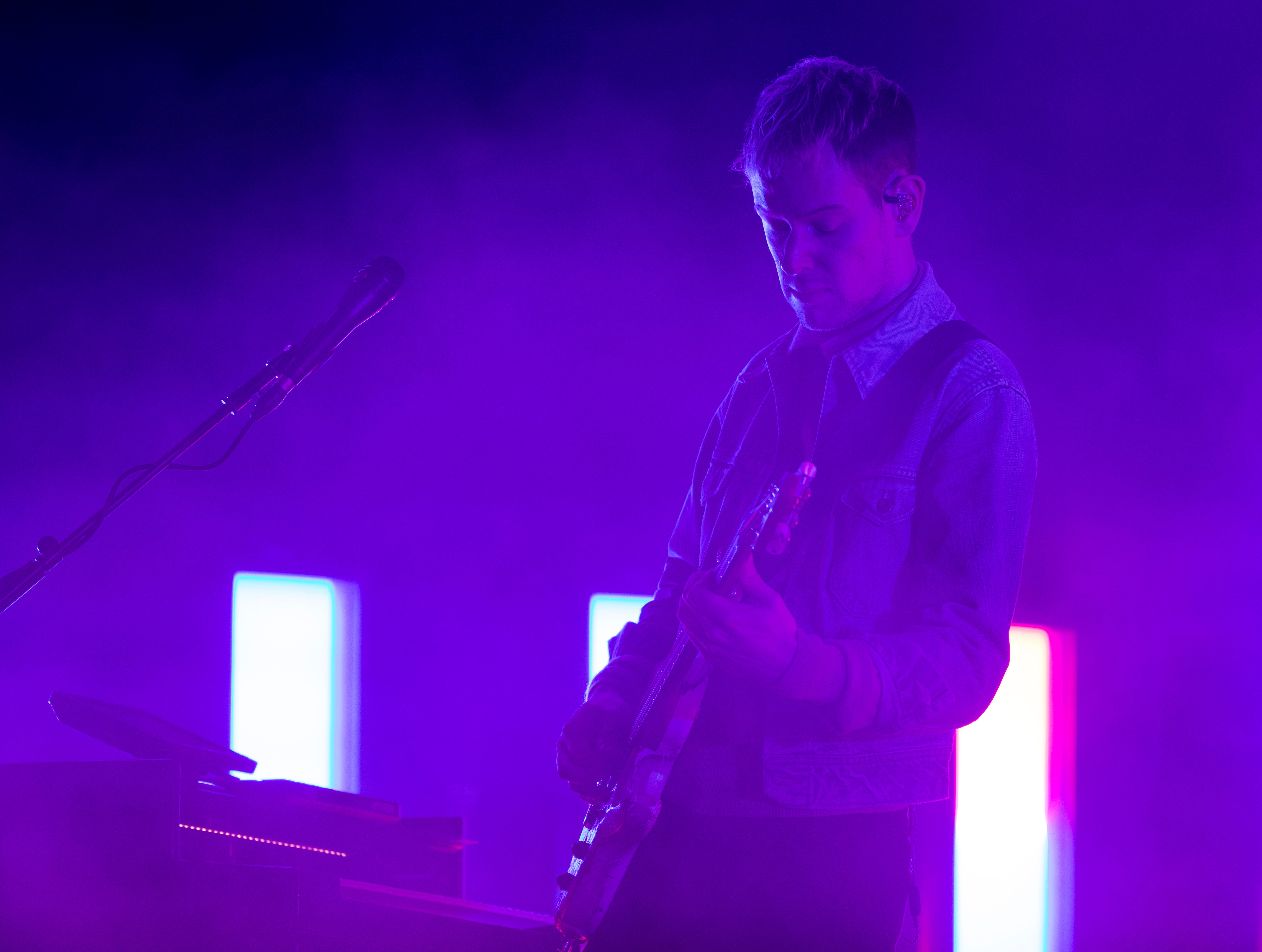 Adam Hann, The 1975 lead guitarist, performs during The 1975 concert at the PNC Pavilion on Sunday, May 12, 2019 in Cincinnati.