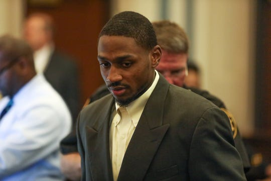 Deonte Baber walks into the courtroom for his trial in Hamilton County Common Pleas Court on Monday May 13, 2019. Baber is standing trial on murder charges in the fatal shooting of Jamie Urton in 2017.