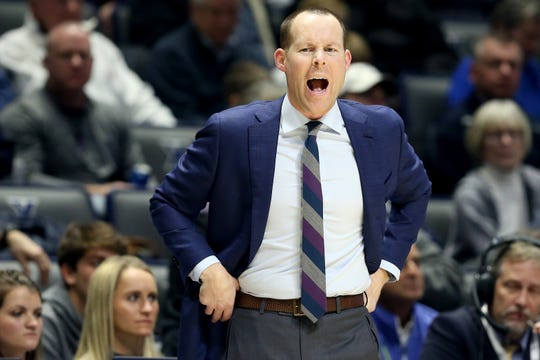 Xavier Musketeers head coach Travis Steele instructs the team in the second half of an NCAA basketball game, Wednesday, Jan. 9, 2019, at the Cintas Center in Cincinnati. Xavier Musketeers won 81-75 against the Georgetown Hoyas.