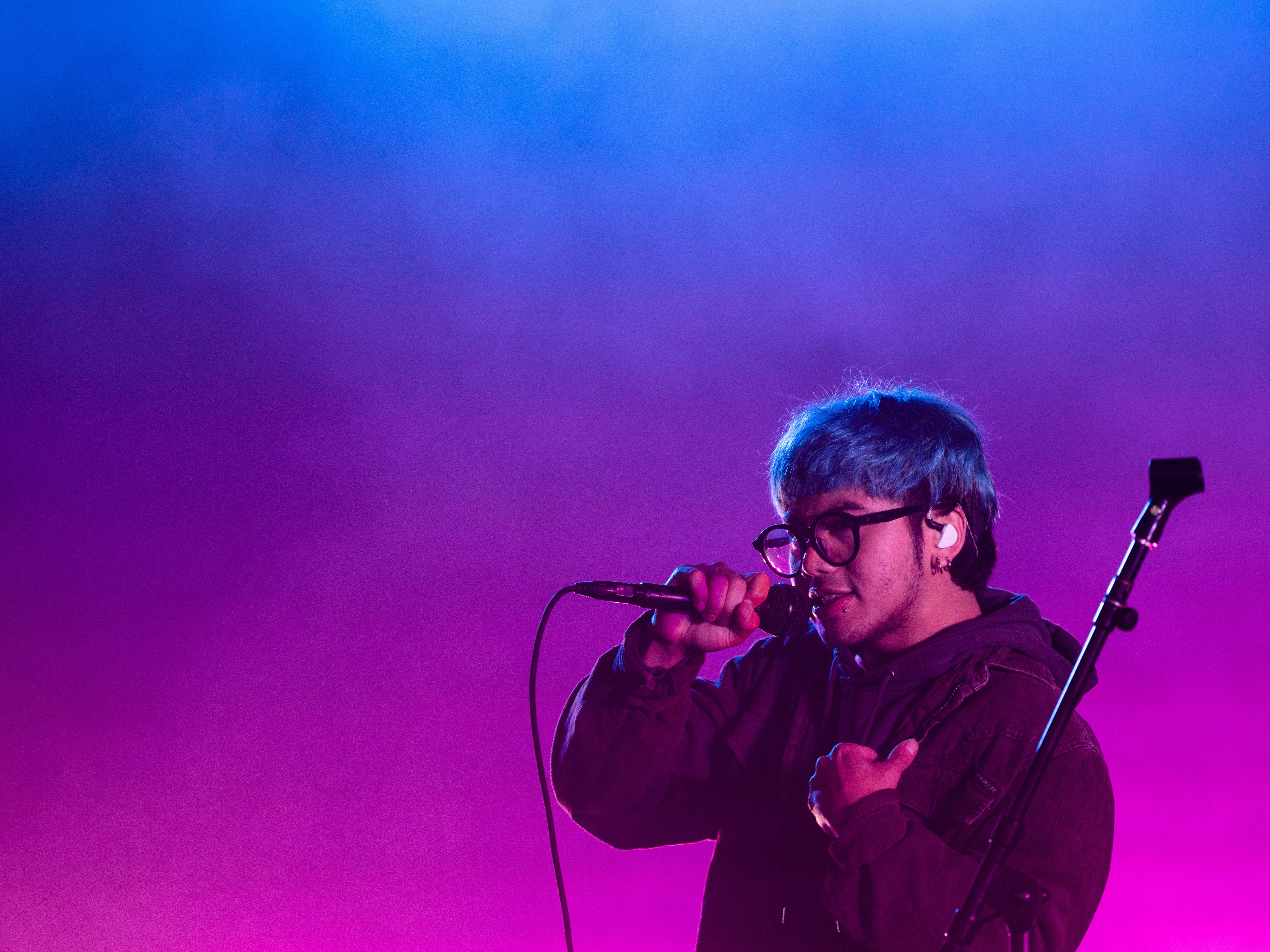 Guendoline Rome Viray Gomez, better known as No Rome, performs the opening act before the Pale Wave and The 1975 performances at the PNC Pavilion on Sunday, May 12, 2019 in Cincinnati.