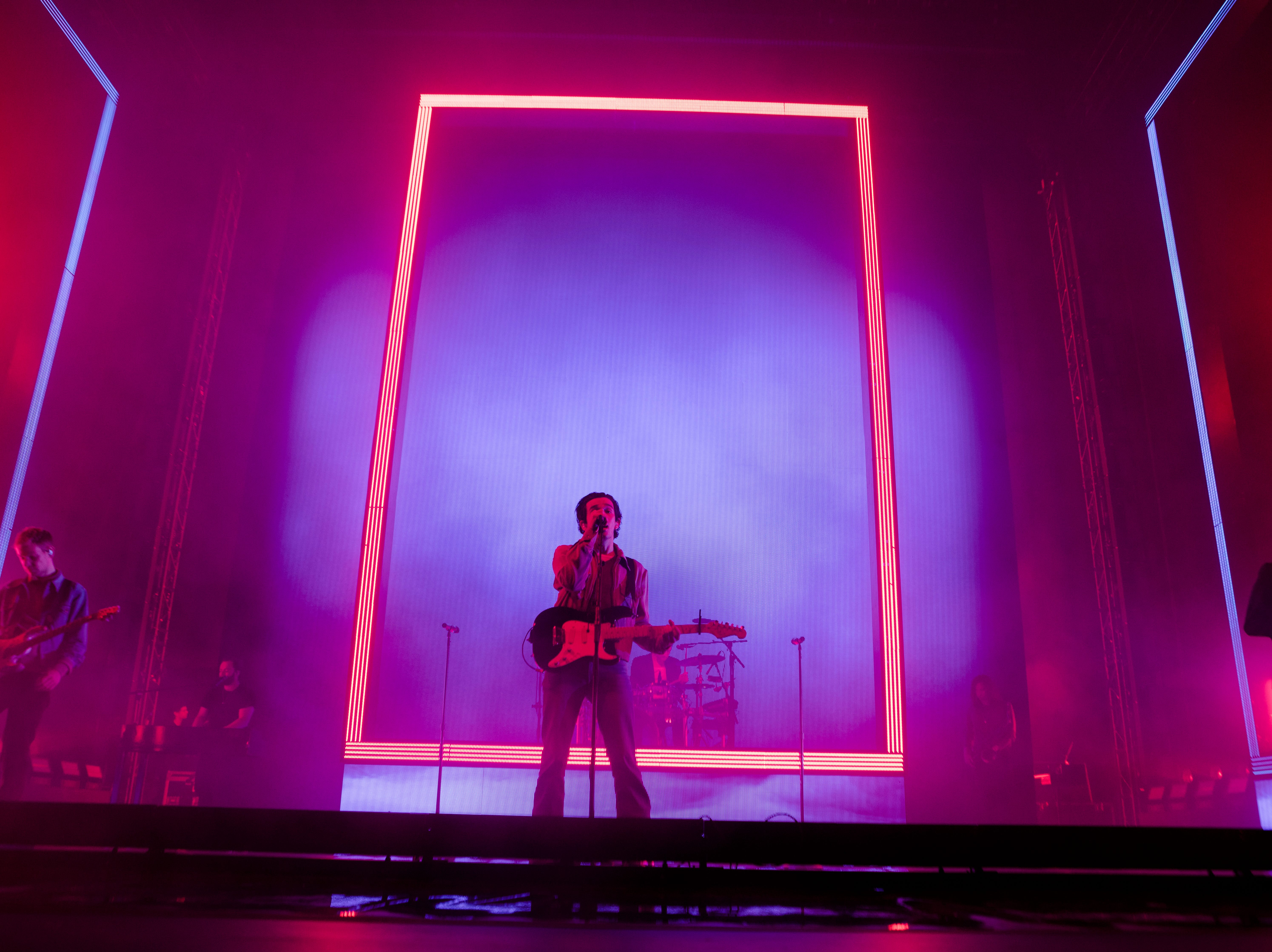 Matty Healy, The 1975 lead vocals, performs during The 1975 concert at the PNC Pavilion on Sunday, May 12, 2019 in Cincinnati.