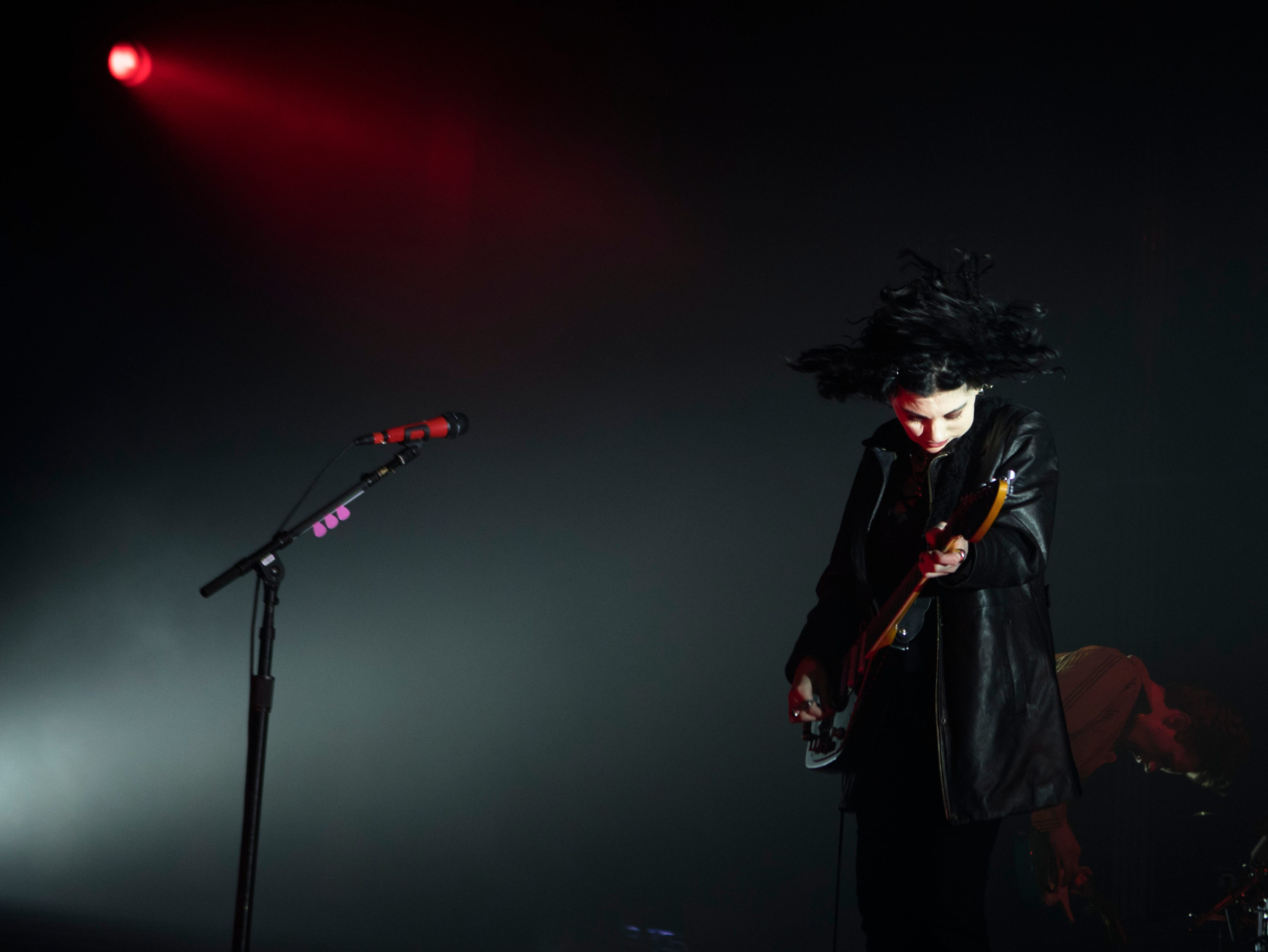 Heather Baron-Gracie, Pale Waves lead vocals and guitarist, performs the opening act before The 1975 performance at the PNC Pavilion on Sunday, May 12, 2019 in Cincinnati.
