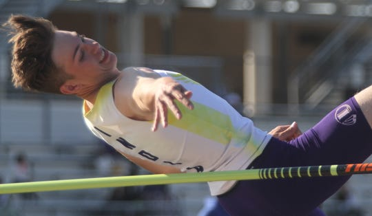 Indianola junior Matt McKnight competes in the high jump. McKnight qualified for state with a seed height of 6 feet, 1 inch. The state qualifying meet was held at Johnston on May 10.
