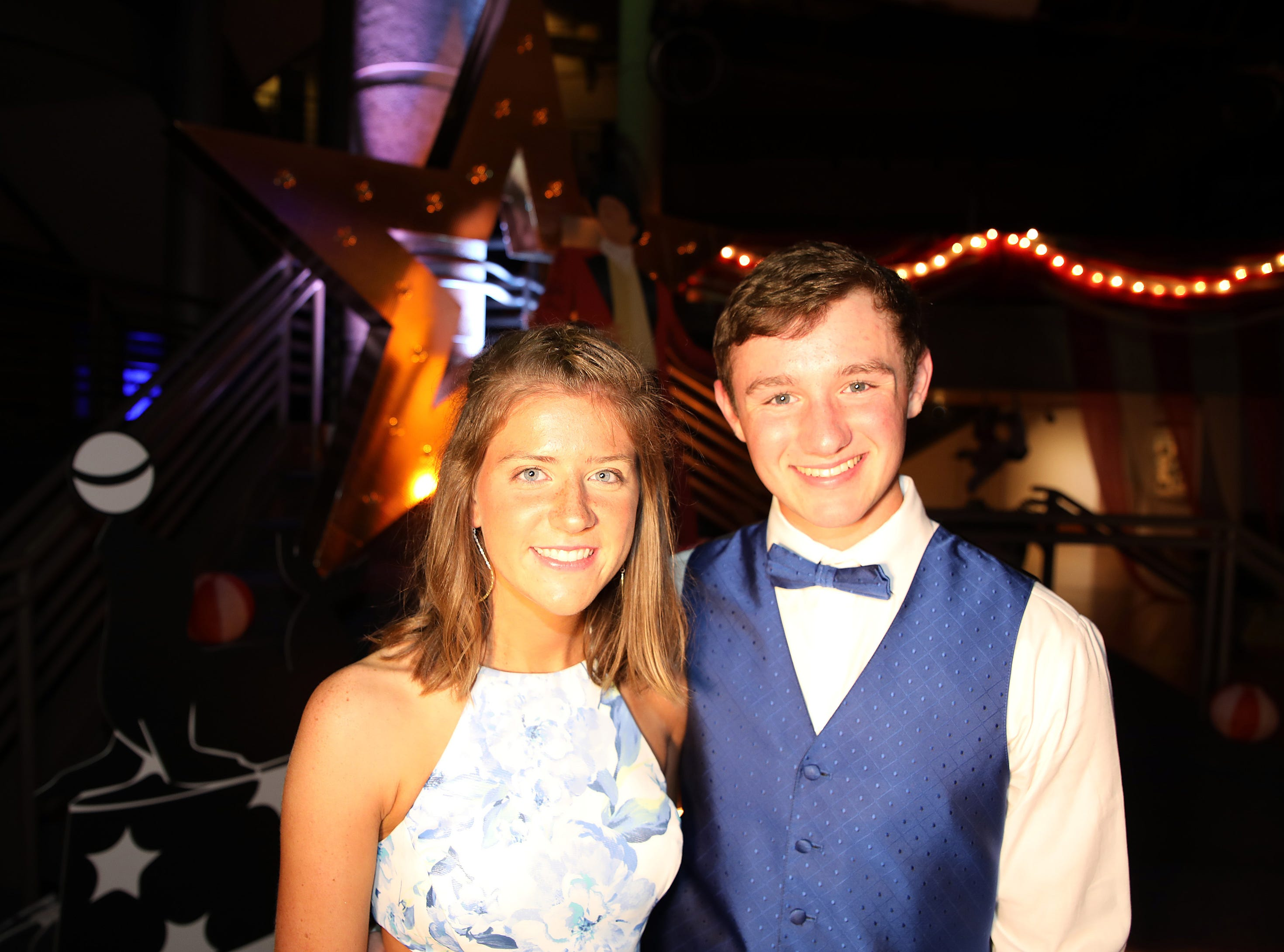 Seniors Kate Meade and Alex Augustine attend the circus-themed Urbandale High School Junior/Senior Prom Spectacular at the State Historical Building in Des Moines on Saturday, April 11, 2019.  The post-prom event is held at school right after the dance from 11 p.m. to 4:30 a.m. with food, prizes, a hypnotist, inflatables, and casino games.