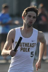 Southeast Polk senior Matt West runs the anchor leg of the 4x800-meter relay. The Rams qualified for state with the third fastest seed mark at 8:01.19. The state qualifying meet was held at Johnston on May 10.