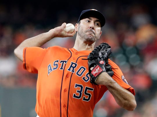 Houston Astros starting pitcher Justin Verlander throws to a Texas Rangers batter during the first inning Friday, May 10, 2019, in Houston.