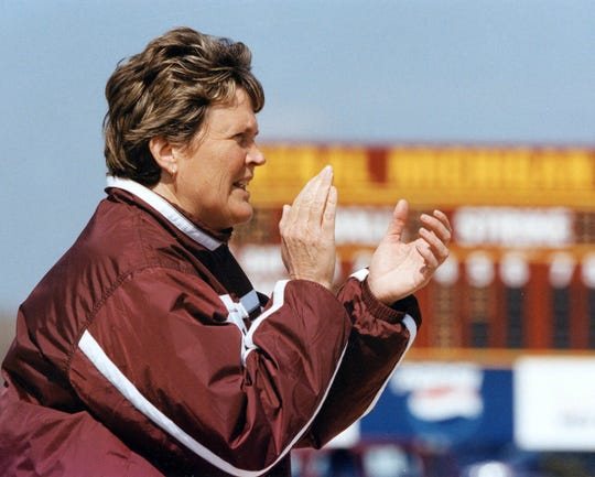 Central Michigan softball coach Margo Jonker is shown on April 10, 2002, in Mt. Pleasant.