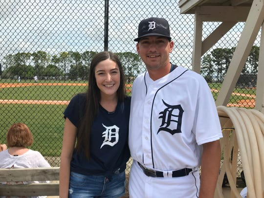 Detroit Tigers pitching prospect John Schreiber proposed to his now-wife, Rebecca, at Comerica Park in Detroit.