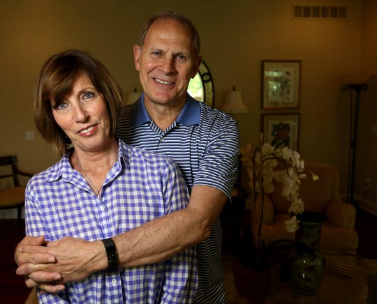 The University of Michigan head basketball coach John Beilein with Kathleen Beilein, his wife, in the living room of their home in Ann Arbor on Saturday, May 13, 2017. 