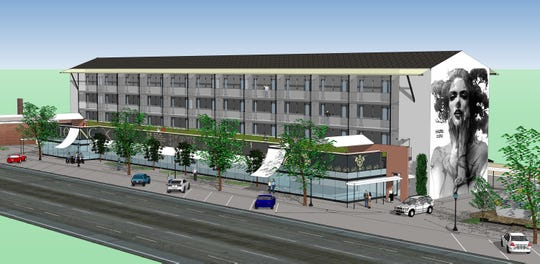 Conceptual drawing of a proposed retail and apartment project on John R in Hazel Park.