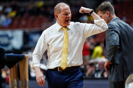 Michigan head coach John Beilein calls a timeout during the second half of the Sweet 16 game against Texas Tech  at Honda Center in Anaheim, Calif., Thursday, March 28, 2019.
