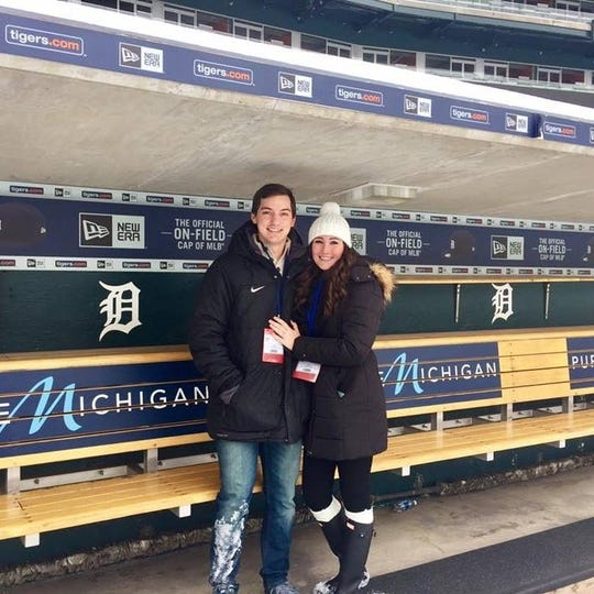 John and Rebecca Schreiber got engaged at Comerica Park. They're hoping to return soon, with John on the mound for the Detroit Tigers.
