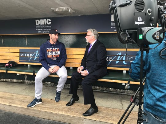 Justin Verlander is interviewed by Jack Morris at Comerica Park in Detroit on Monday, May 13, 2019.