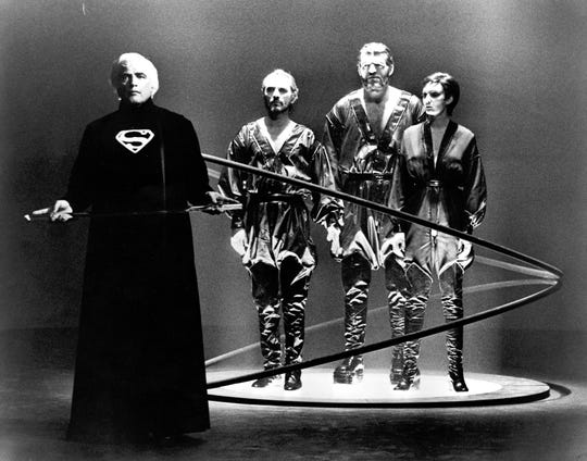 In the trial chamber of the Planet Krypton, Jor-El (Marlon Brando) sentences three Kryptonian Arch villians Zod (Terence Stamp), Non (Jack O'Halloran), and Ursa (Sarah Douglas).