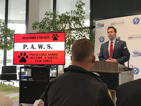 Derek Miller, chief of operations for the Macomb County Prosecutor's Office, speaks during a May 13, 2019 news conference about a new countywide task force to prevent animal abuse.