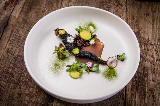 Grilled octopus served with avocado, chicharron and pasilla Mixe. Mexico's Top Chef Rodolfo Castellanos will take over Frame, a restaurant known for hosting themed dinners, July 18-20.
