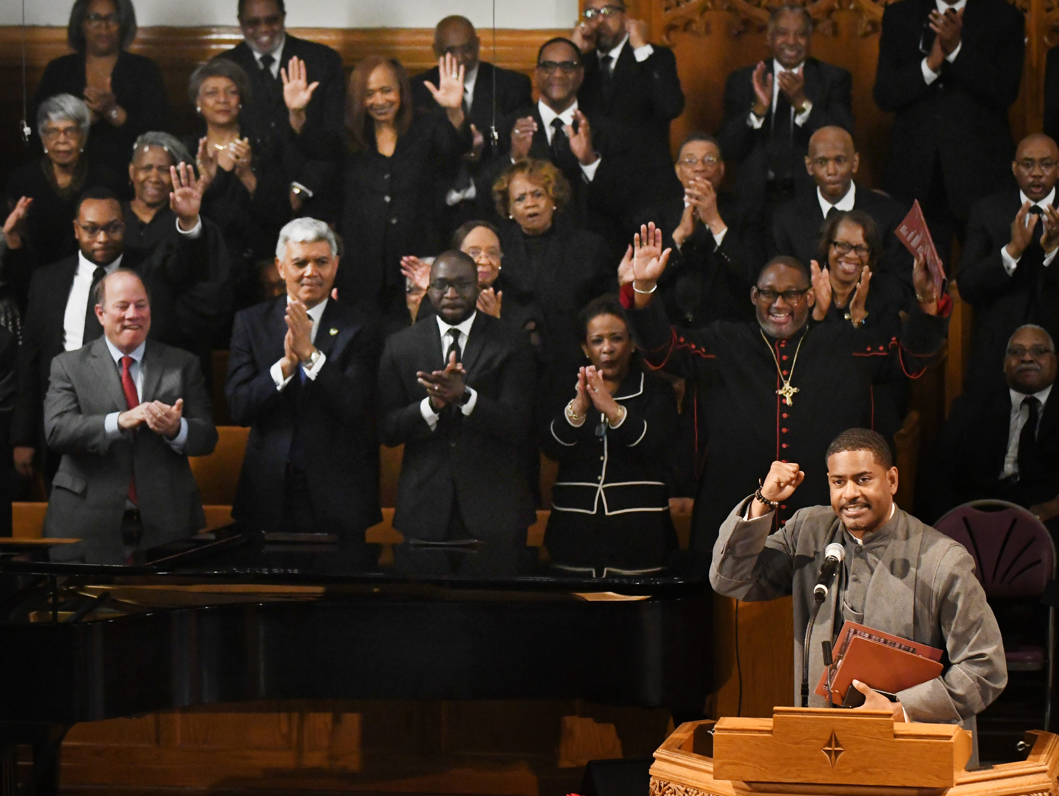Rev. Dr. Otis Moss III,l Senior Pastor of Trinity United Church of Christ in Chicago has the congregation applauding after a creative eulogy for Judge Damon Keith.