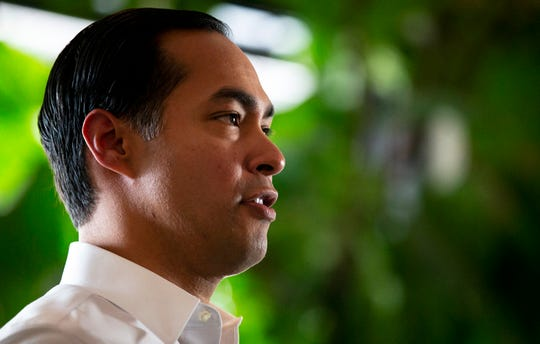 Democratic presidential candidate Julian Castro speaks to members of the media before a campaign rally on Wednesday, May 8, 2019, in Austin, Texas.